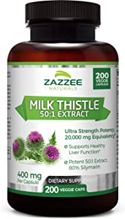 Zazzee Organic Milk Thistle Extract 20,000 mg Strength, 200 Vegan Capsules, Potent 50:1 Extract, 80% Silymarin Flavonoids,...
