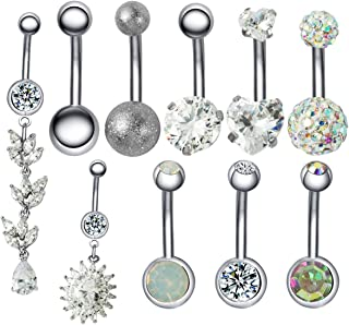 JDXN 10PCS 14G Stainless Steel Belly Button Rings Star CZ Bow Flower Dangling Dangle Navel Ring Body Piercing