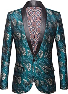 Allthemen Men's Tuxedo Suit Blazer Casual Business Jacket Wedding Single Button Floral Print Party Dress Suit Jacket