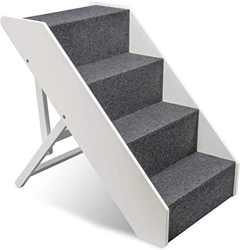 lowest Arf Pets Wood Dog Stairs, 4 Levels outlet online sale Height Adjustment online sale Wide Pet Steps, Foldable, White online