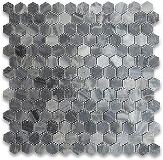 Bardiglio Gray Italian Dark Grey Marble Hexagon Mosaic Tile 1 inch Polished