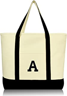 DALIX Initial Tote Bag Personalized Monogram Black Zippered Top Letter - A