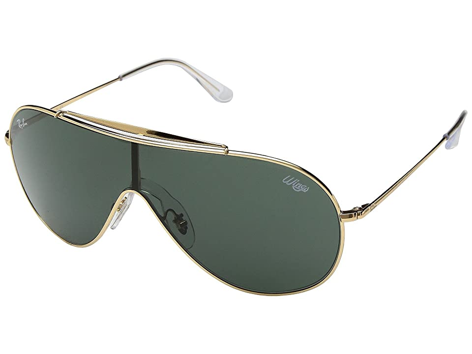 Ray-Ban Wings 0RB3597 33mm (Gold/Dark Green) Fashion Sunglasses