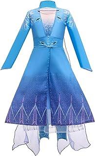 Elsa 2 Dress Up Costume Set Kids Dress Princess Robe Birthday Party Dress, Pants, Cloak 3PCS Clothes