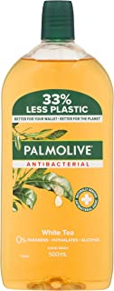 Palmolive Antibacterial Liquid Hand Wash Soap White Tea Refill and Save 0% Parabens Recyclable, 500mL