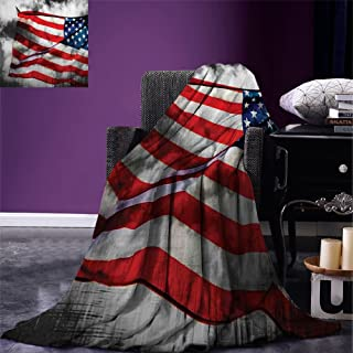 Luoiaax American Flag Super Soft Lightweight Blanket Banner in The Sky on Cloudy Mist Display National Symbol Proud of Heritage Oversized Travel Throw Cover Blanket Grey Red Blue