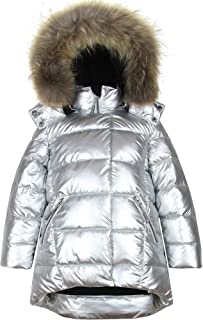 Deux par Deux Girls' Puffer Coat with Real Fur in Silver, Sizes 4-16