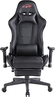 Top Gamer Ergonomic Gaming Chair High Back Swivel Computer Office Chair with Footrest Adjusting Headrest and Lumbar Support Racing Chair (Black-0009)