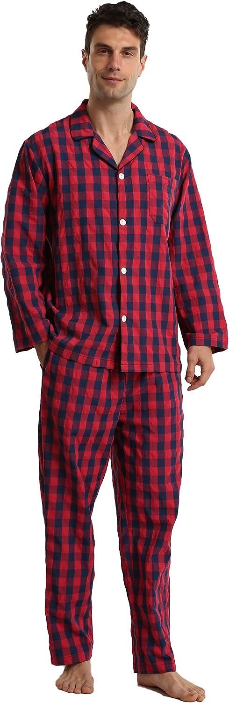 Mens Plaid Pajama Set,Soft Cotton Summer Pajamas Loung Sleepwear Set Pjs for men