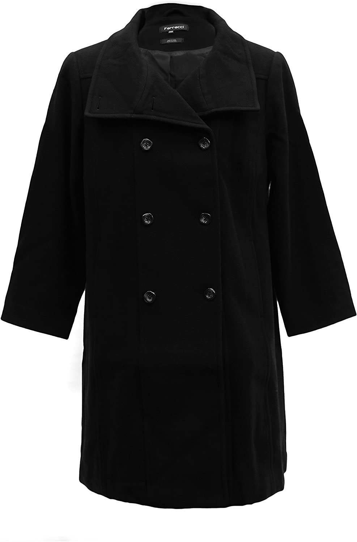 Ferrecci Womens Plus Size Black Double Breasted Peacoat Jacket