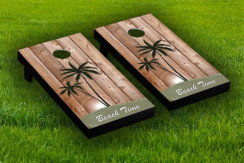 Beach Time Wood Cornhole Board Wraps Laminated Sticker Set Skin Decal