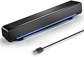 Marboo Soundbar, USB Powered Sound Bar Speakers for Computer Desktop Laptop PC, Black (USB)