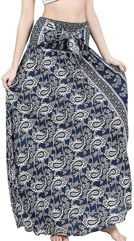 Csbks Women's 2 in 1 Bohemian Breezy Asymmetric Beach Long Skirts Casual Halter or Strapless Dress