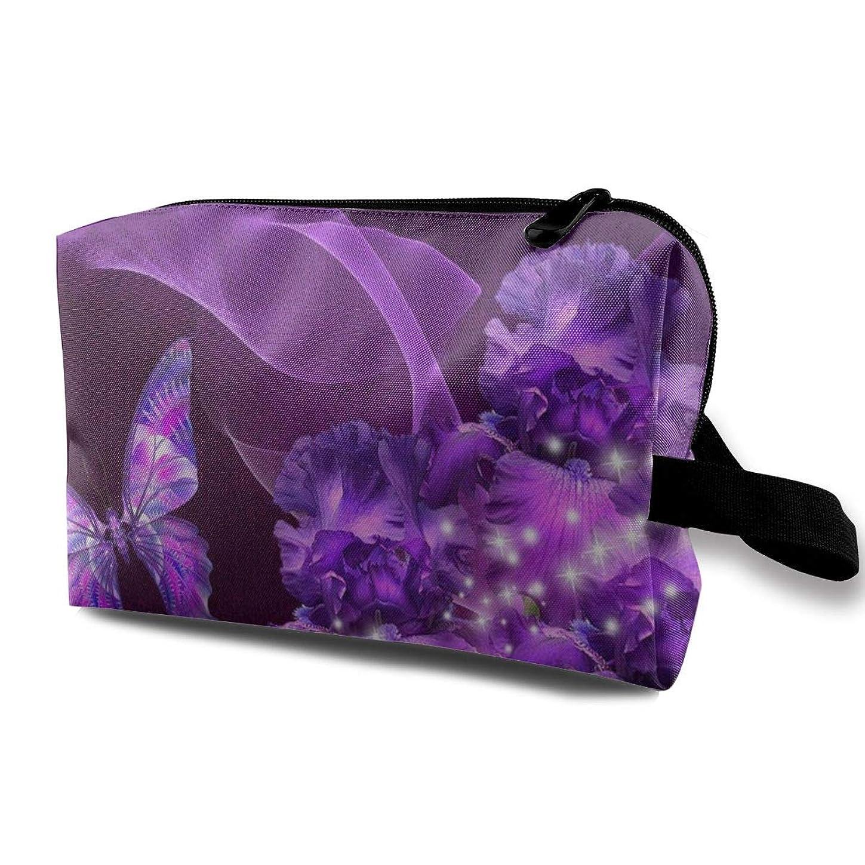 魅了する球体打撃紫蝶と花 化粧バッグ 収納袋 女大容量 化粧品クラッチバッグ 収納 軽量 ウィンドジップ