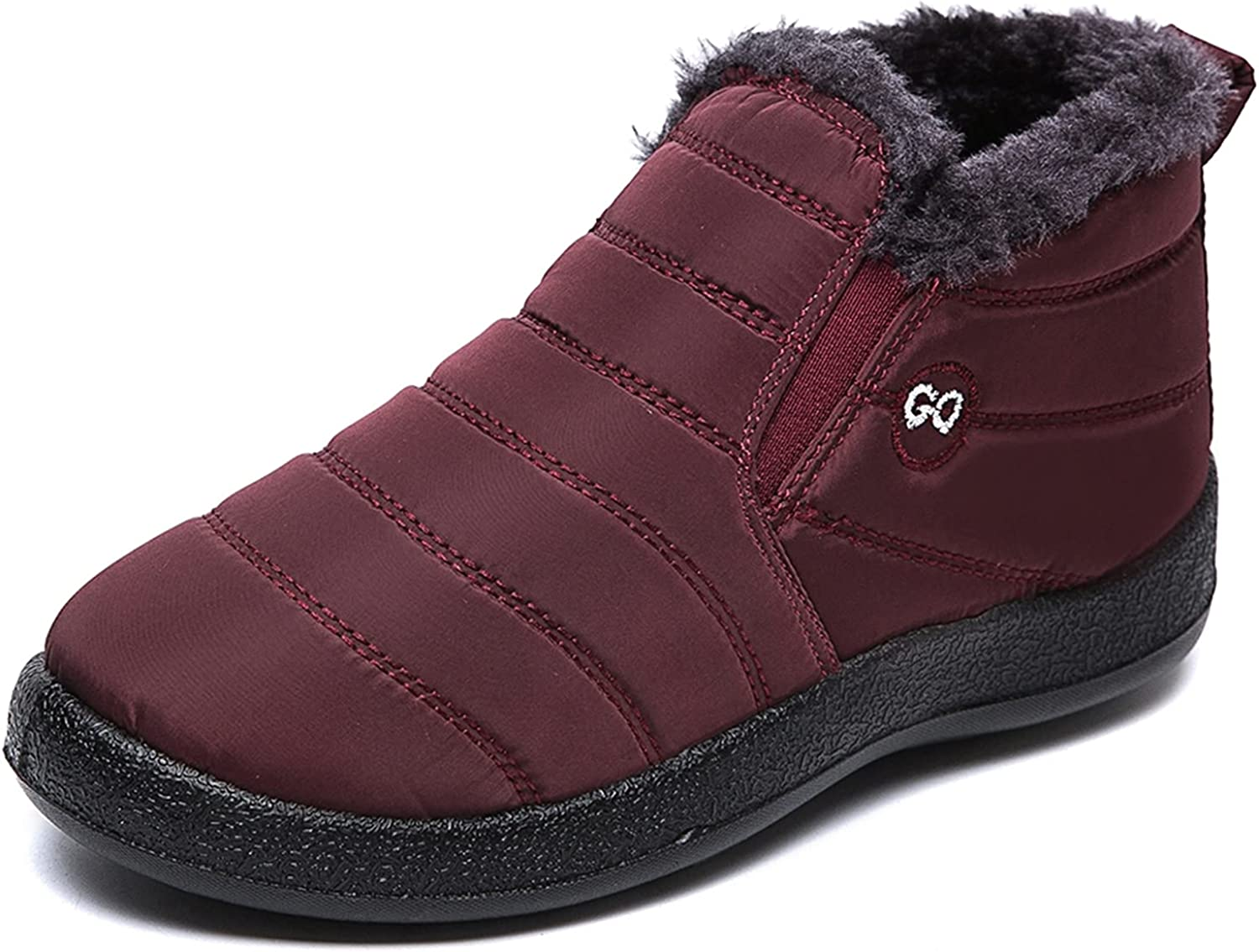 Warm Snow Boots, Women's Winter Ankle Bootie Anti-Slip Fur Lined Ankle Short Boots Waterproof Slip On Outdoor Shoes Black Coffee Red Blue, Size 5-10