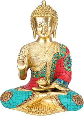 Artvarko Bhagwan Buddha Statue Blessing Face Murti for Home Decor Idol r Entrance Office Table Living Room Meditation Luck Gift Feng Shui 12 Inch