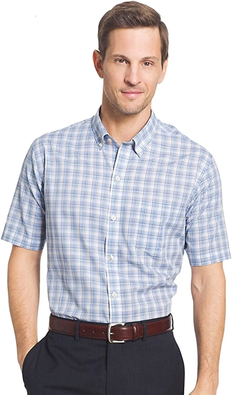 Van Heusen Men's Flex Stretch Short Sleeve Non Iron Shirt (X-Large, Turquoise Aquatic)