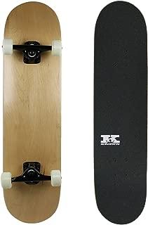 """Krown PRO Skateboard Complete Pre-Built Natural 8.0"""" Black Trucks White Wheels"""