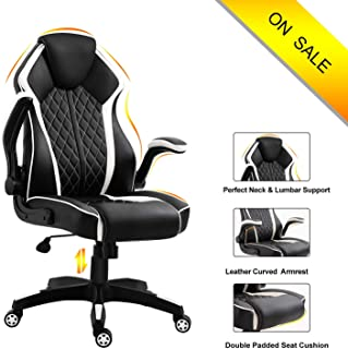 Ergonomic High Back Leather Office Chair-Title Locked and Soft Padded Armrest Executive Swivel Computer Chair, Comfort Design for Lumbar Support and headrest LUXL001 (White)