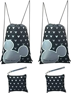 23bb1c57a1 Disney Mickey Mouse Glow in the Dark Drawstring Backpack Pack of 4 (Silver)  Includes
