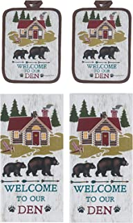 Kay Dee Designs Wilderness 4 Pc Kitchen Towel Potholder Bundle, Welcome to Our Den