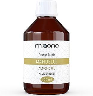 Mandelöl 500ml - 100% reines kaltgepresstes Öl in einer Glasflache von miaono