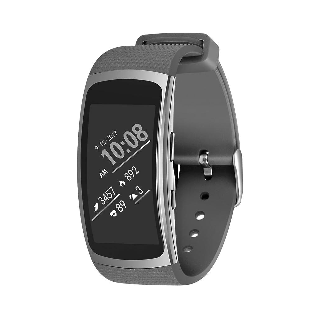 極貧銅実際のVICARA for Samsung Gear Fit 2/Gear Fit 2 Pro 腕時計バンド 時計ストラップ 防水防汗 スポーツ 柔らか 交換ベルト (グレー)