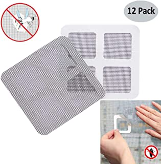 Window and Door Screen Repair Kit,Fiberglass Screen Repair Patches, Strong Adhesive Screen Repair Stickers Waterproof Mesh Film Ideal for Fixing Holes and Tears, 4