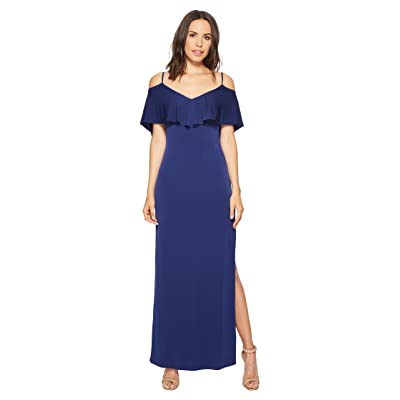 Laundry by Shelli Segal Cold Shoulder Flutter Popover Jersey Gown with Open Back (Midnight) Women
