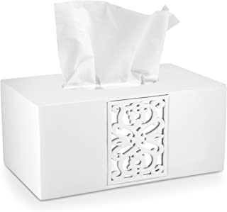 "DWELLZA Decorative White Tissue Box Cover Rectangular (10.25"" x 5.9"" x 4.53"") - Mirror Janette Collection - Bath Tissues P..."