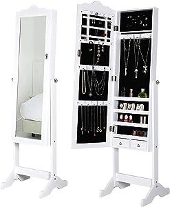 Deuba Armadietto a specchio + Porta girevole + Cassetti + Orientabile–Gioielli armadio specchio