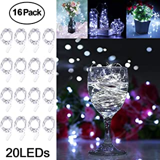 Adecorty Fairy Lights Battery Operated Mini Lights Battery Powered Fairy String Lights 16 Pack 7.2ft 20 LED Mini Firefly Lights for Wedding Crafts Table Reception Jars Vases Christmas (Cool White)