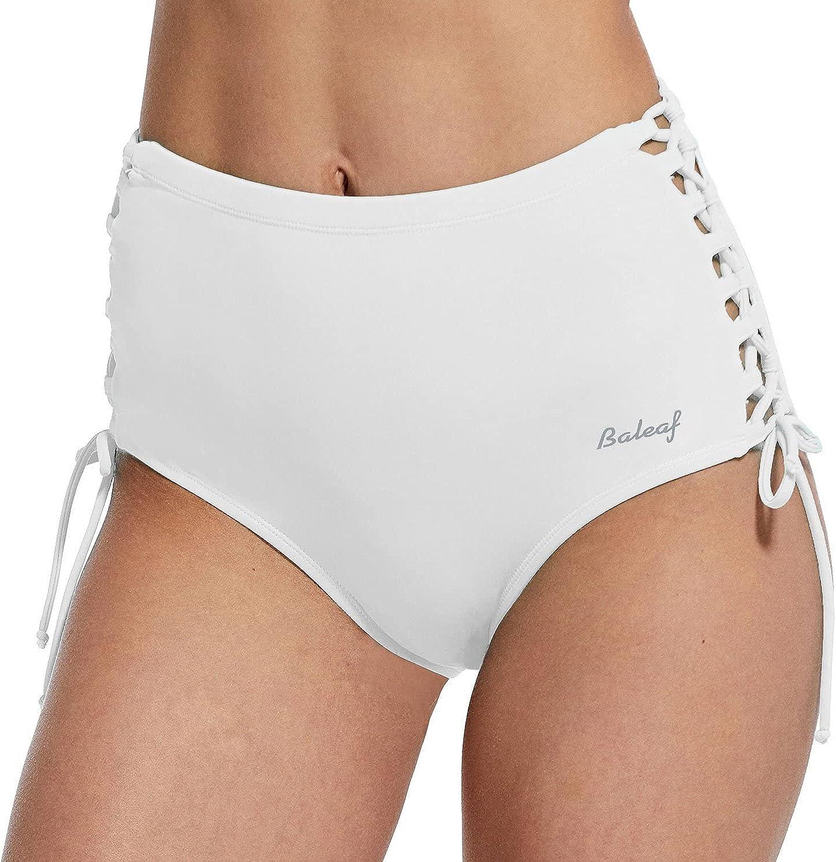 BALEAF Women's High Waisted Bikini Bottoms Tie Sides Swim Briefs Tummy Control Hipster Full Coverage