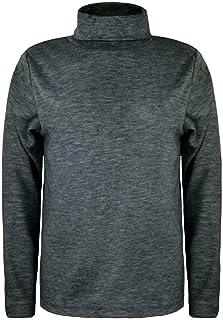 Camiseta de manga larga con cuello alto y cuello redondo básico para niños