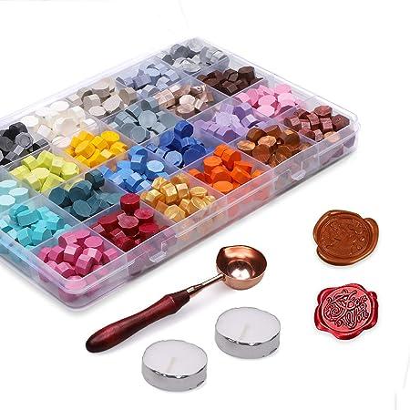 Xiangmall 600 Pièces Perles de Cire à Cacheter Kit Antique Coloré Cachet de Cire Sceau avec Bougies de Thé et Cuillère à Cire à Cacheter pour Cachetage Cire Enveloppe Carte D'invitation Mariage