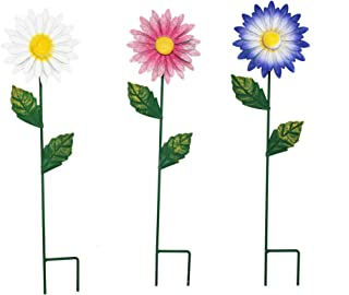 VOTENVO Decorative Stakes Set of 3 Metal Daisies Flower Garden Stake Flower Patio Lawn Yard Stake Decor Outdoor Decor Dais...