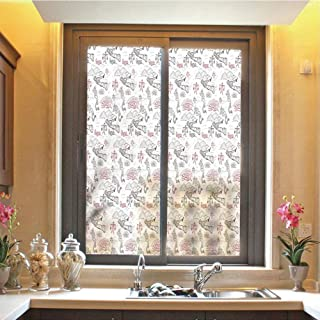 Ethnic 3D No Glue Static Decorative Privacy Window Films, Great Wall of China Folk Motif with Authentic Dragons and Local Men Culture Print,17.7