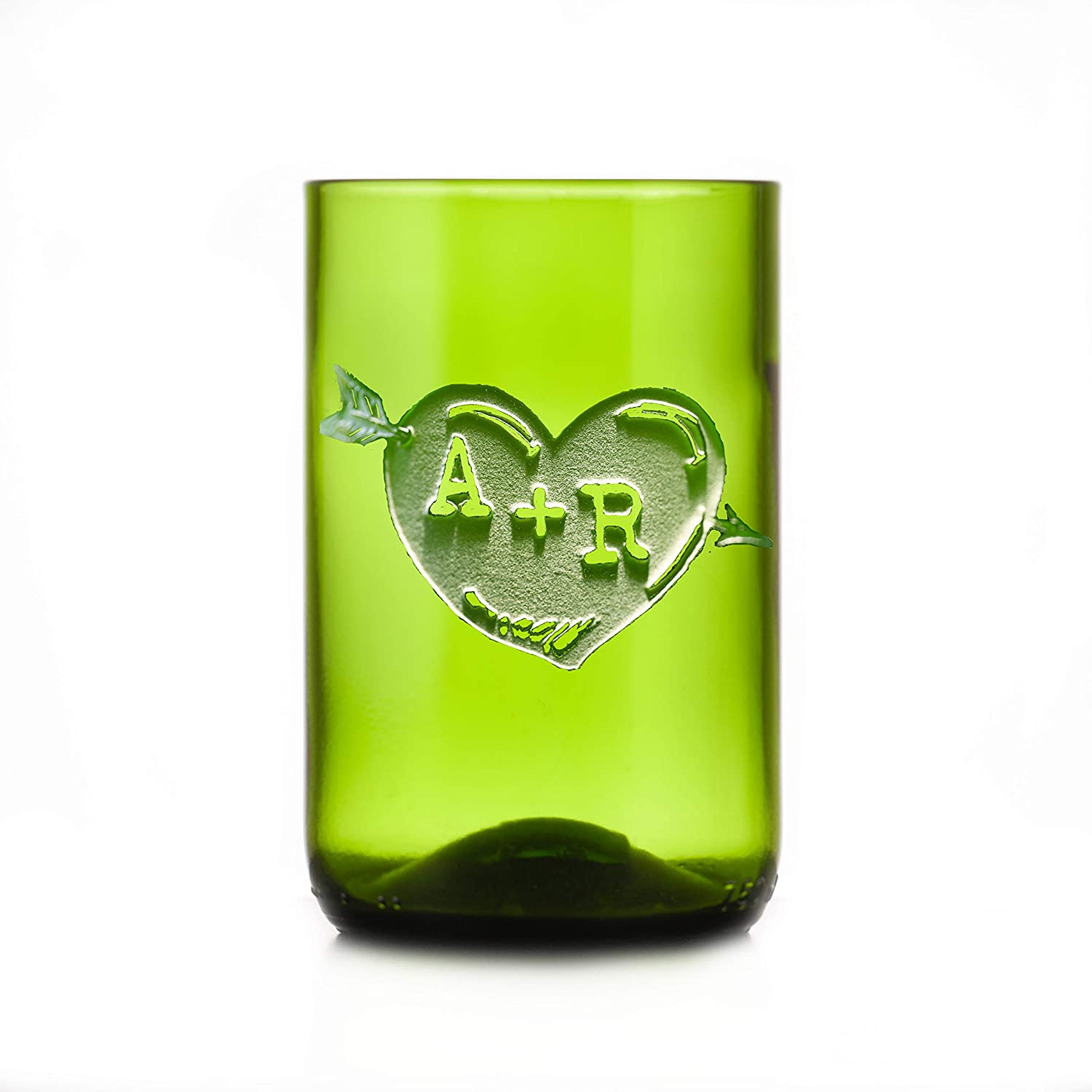 Green Recycle Sale Ranking TOP6 price Wine Bottle Glass Arrow Engraved Tumbler S Heart