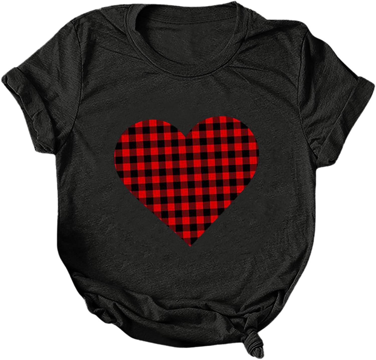 KYLEON Women gift T Low price Shirts Casual Plaid Short Print Heart Summer Tops