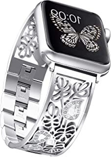 Secbolt Carved Flower Bling Bands Compatible with Apple Watch Band 42mm 44mm iwatch Series 5/4/3/2/1, Stainless Steel Dressy Jewelry Diamond Bracelet Bangle Wristband Women, Silver