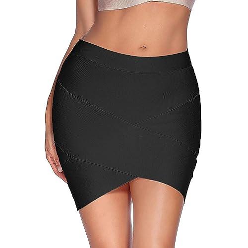 3da788288a86 Meilun Women's Rayon Bandage Bodycon Mini Skirt