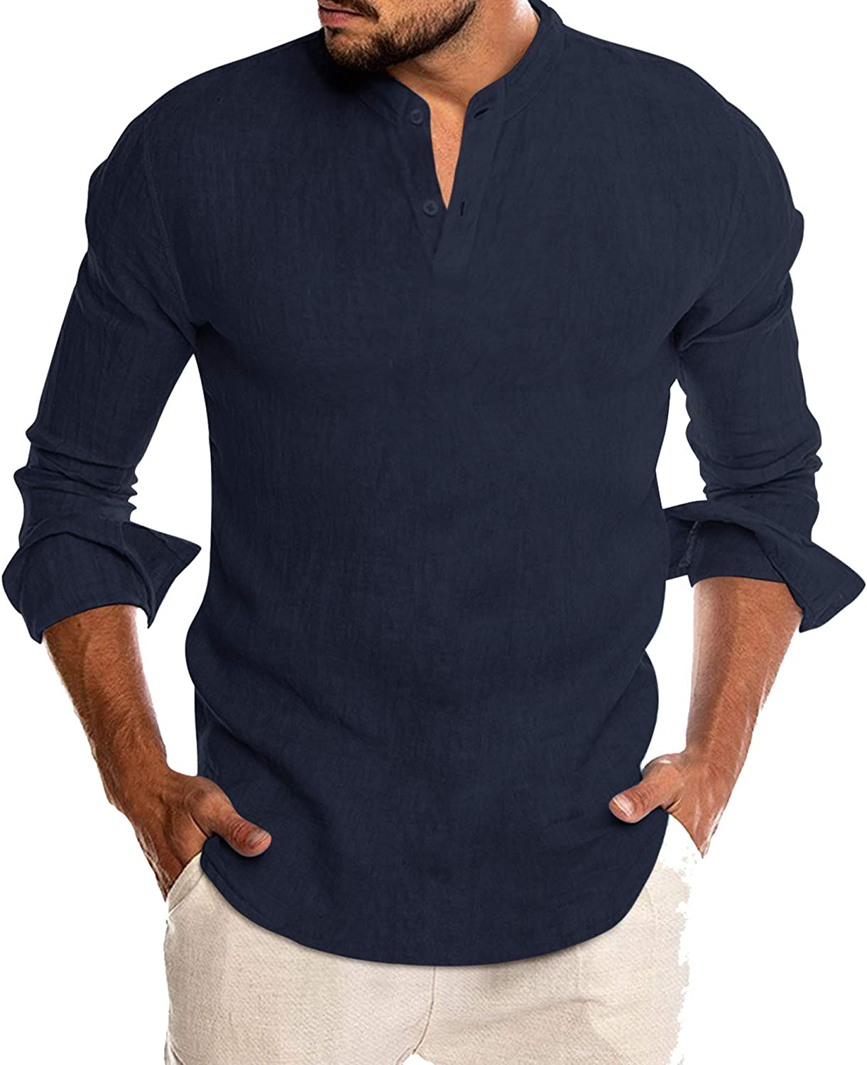 COOFANDY Mens Slim Fit Long Sleeve T-Shirts Linen Banded Collar Henley Shirts
