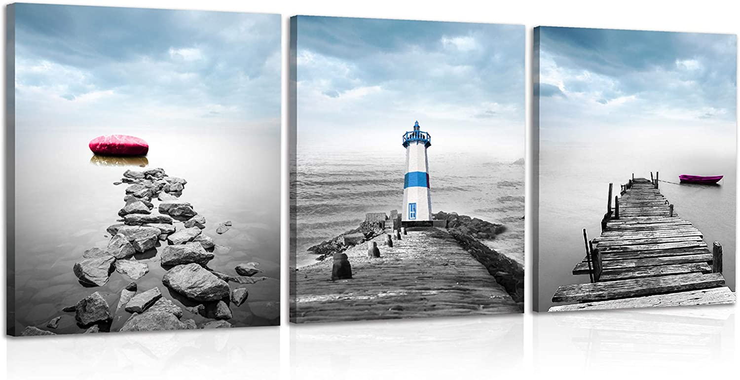 JNMD ART Lighthouse Decor Ocean Wall Art for Bathroom Coastal Artwork for Bedroom Beach Landscape Decor for Living Room Red Stone with Purple Boat Picture Print on Canvas Ready to Hang with Framed and Hooks for Home Decoration