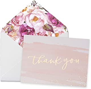 "Thank You Cards-48 Bulk Blank Gold Foil&Watercolor Bulk Box Set with Elegant Floral Envelopes &Stickers for Wedding, Baby Shower, Bridal Shower, Business, Anniversary, Funeral -4"" x 6"""