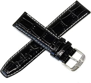 "Jacques Lemans 22MM Alligator Grain Genuine Leather Watch Strap 7.75"" Black & Silver JL Initial Buckle"