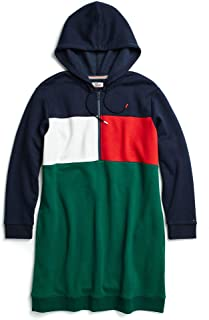 Tommy Hilfiger Women's Adaptive Hoodie Sweatshirt Dress with Extended Collar Zipper, Peacoat/Green/red, XS