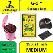G-1 Garbage Bags (Medium) Size 48 cm x 56 cm (Black Colour) 60 Pcs - Pack of 2