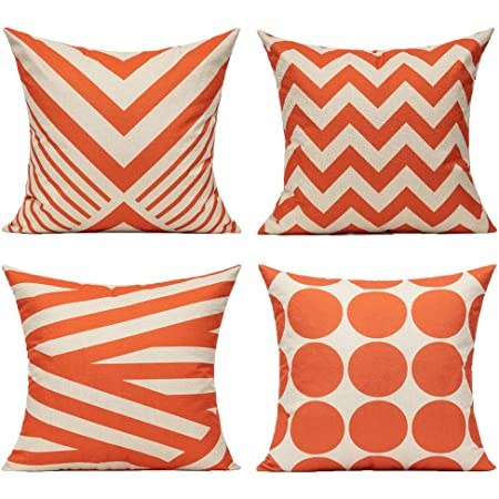 Amazon Com All Smiles Outdoor Patio Throw Pillow Covers Cases Indoor Furniture Decorative Cushion 18x18 Set Of 4 For Home Porch Chair Couch Sofa Living Room Geometric Orange Furniture Decor