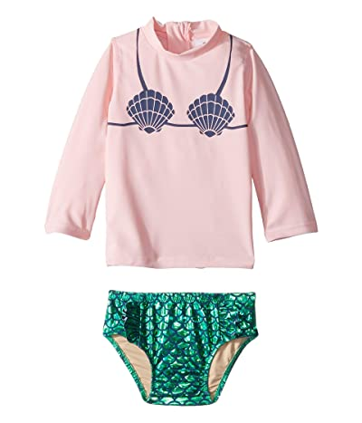 shade critters Mermaid Rashguard Set (Infant/Toddler) (Pink/Green) Girl
