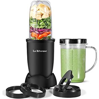 La Reveuse Personal Size Blender 250 Watts Power for Shakes Smoothies Seasonings Sauces with 2 Pieces 16 oz Mug -Black